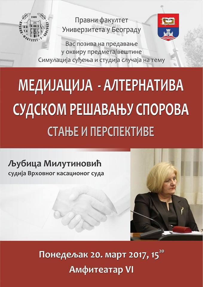 plakat-medijacija- Sudija Ljubica Milutinović